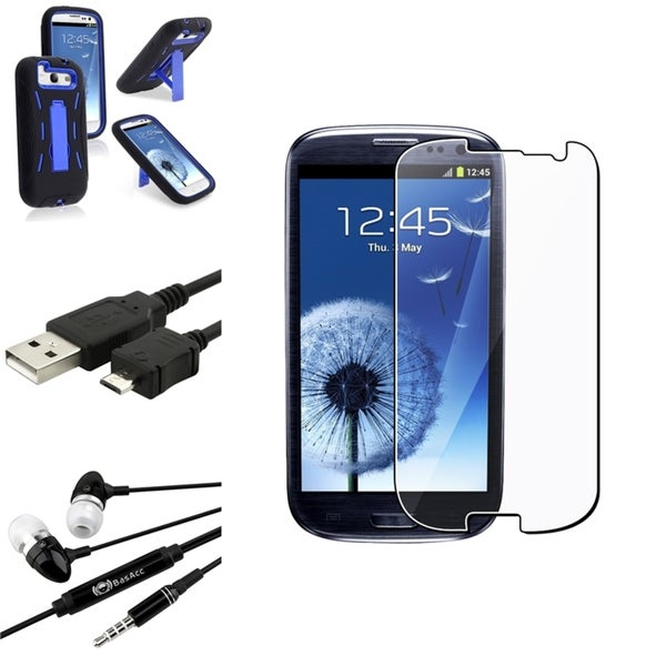 Black BasAcc Hybrid Case/Screen Protector/Headset for Samsung Galaxy S3