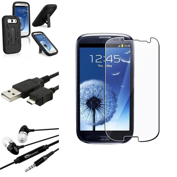 INSTEN Black Phone Case Cover with Stand/ Screen Protector/ Headset for Samsung Galaxy S3