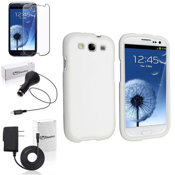 INSTEN White Rubber Case Cover/ Screen Protector/ Chargers for Samsung Galaxy S3