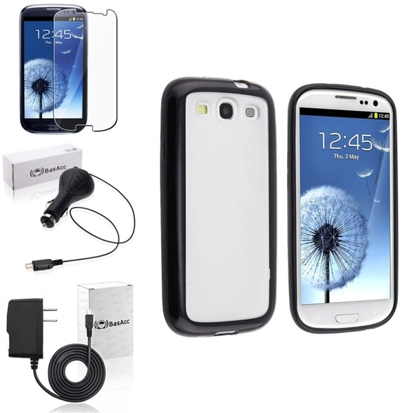 BasAcc Black Trim Case/Screen Protector/Chargers for Samsung Galaxy S3