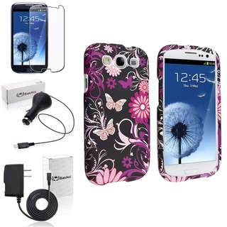 INSTEN Pink Butterfly Case Cover/ Screen Protector/ Chargers for Samsung Galaxy S3
