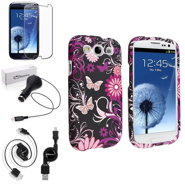 INSTEN Pink Butterfly Case Cover/ Screen Protector/ Charger for Samsung Galaxy S3