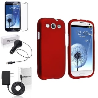 INSTEN Red Snap-On Case Cover/ Screen Protector/ Chargers for Samsung Galaxy S3