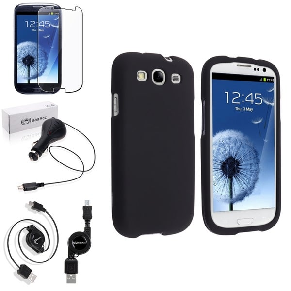INSTEN Black Rubber Phone Case Cover/ Screen Protector/ Charger for Samsung Galaxy S3