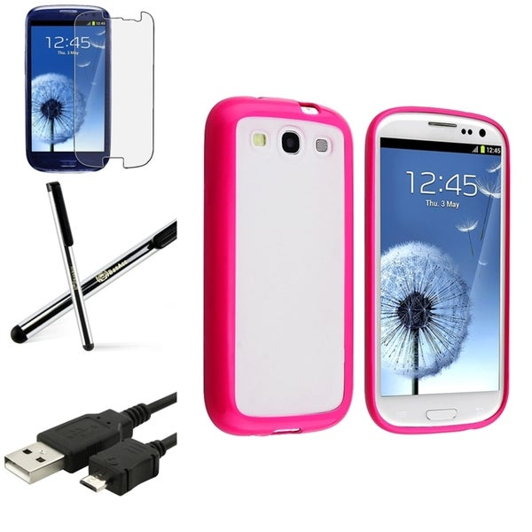 BasAcc Pink-Trim Case/Screen Protector/Stylus for Samsung Galaxy S3