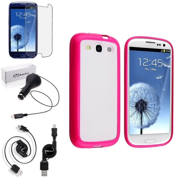 BasAcc Pink Trim TPU Case/Screen Protector/Charger for Samsung Galaxy S3