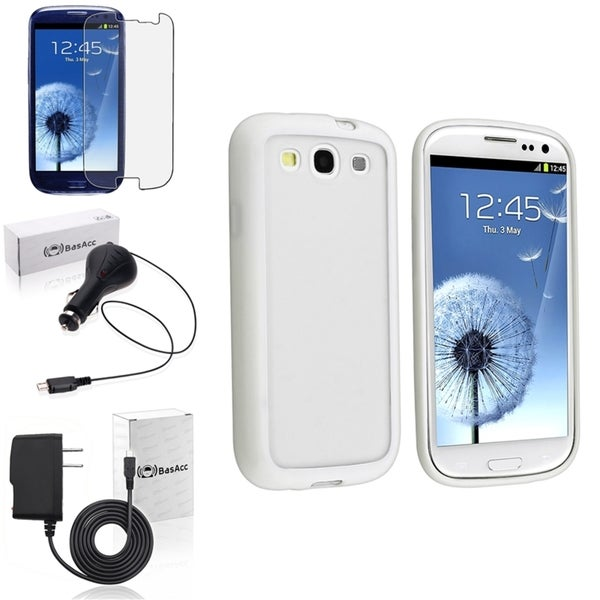 BasAcc White Trim TPU Case/Screen Protector/Chargers for Samsung Galaxy S3