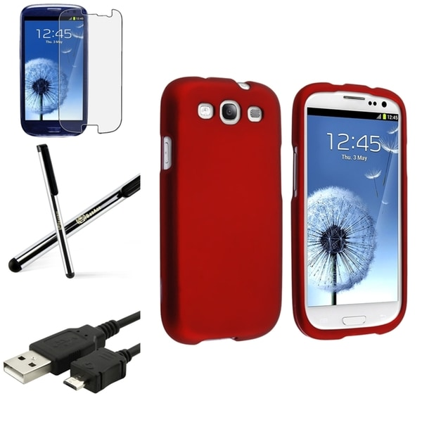 INSTEN Red Phone Case Cover/ Screen Protector/ Stylus for Samsung Galaxy S3