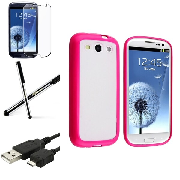 BasAcc Pink-Trim TPU Case/Screen Protector/Stylus for Samsung Galaxy S3