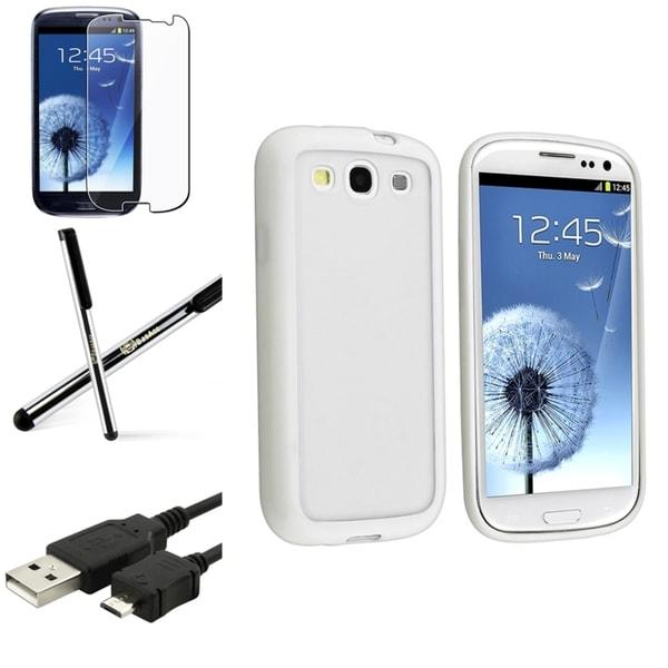 BasAcc White-Trim TPU Case/Screen Protector/Stylus for Samsung Galaxy S3