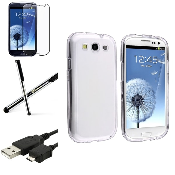 INSTEN Crystal Snap-On Phone Case Cover/ Screen Protector/ Stylus for Samsung Galaxy S3