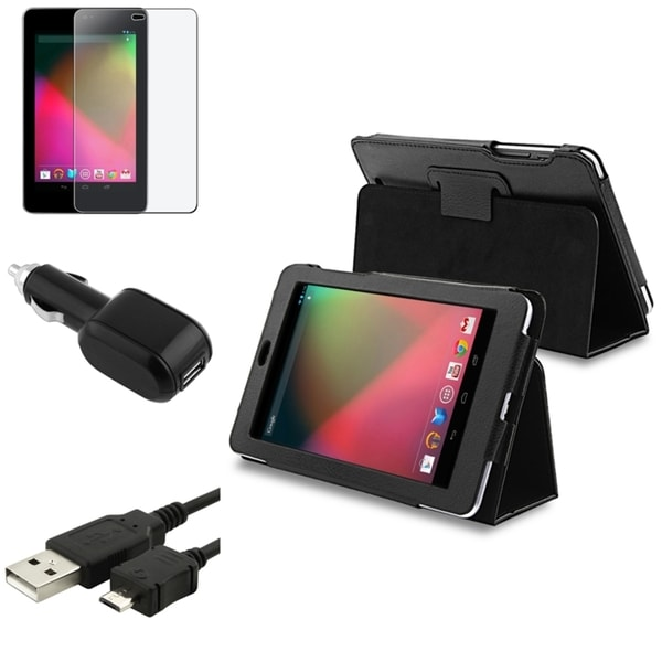 INSTEN Phone Case Cover/ Anti-glare Protector/ Cable/ Charger for Google Nexus 7