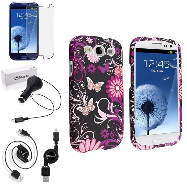 INSTEN Pink Butterfly Rubber Case Cover/ Screen Protector/ Charger for Samsung Galaxy S3