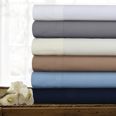 300 Thread Count Cotton Percale Extra Deep Pocket Sheet Set with Oversize Flat