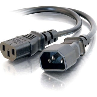 C2G 1ft 16 AWG 250 Volt Computer Power Extension Cord (IEC320C14 to I