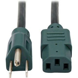 Tripp Lite 4ft Computer Power Cord Cable 5-15P to C13 Green 10A 18AWG