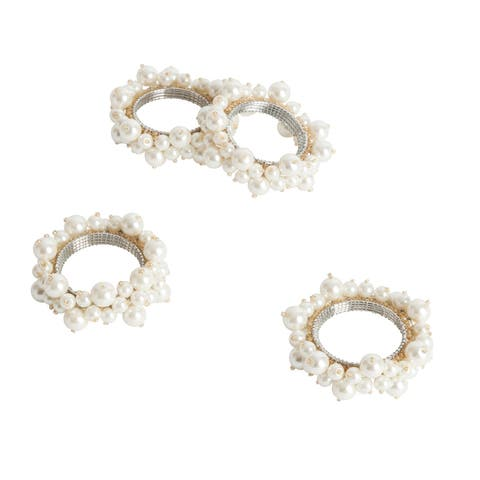 Saro Ivory Faux-pearl Napkin Ring (Set of 4)