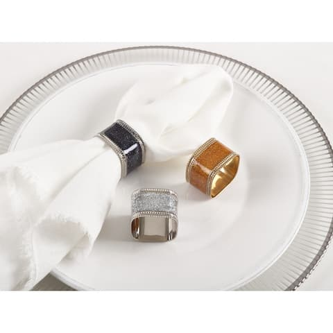 Sparkling Square Design Napkin Rings (Set of 4)