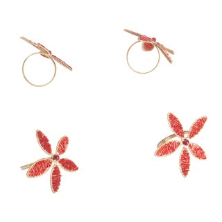 Saro Red Beaded Flower Napkin Ring (Set of 4)