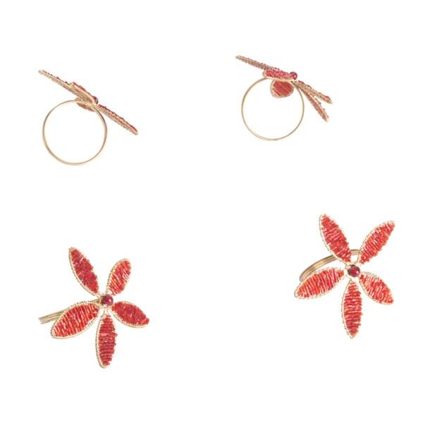 Saro Red Beaded Flower Napkin Ring (Set of 4)