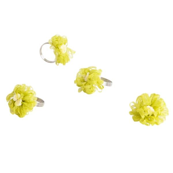 Ribbon Design Lime Napkin Rings (Set of 4)
