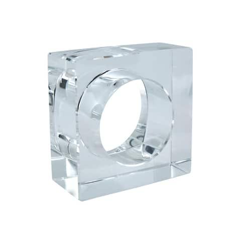 Square Block Design Crystal Glass Napkin Ring (Set of 4)