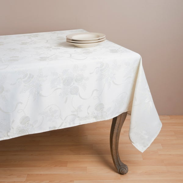 Jacquard Ivory Holiday Tablecloth