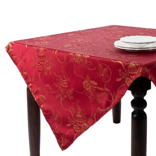 Jacquard Red Holiday Tablecloth