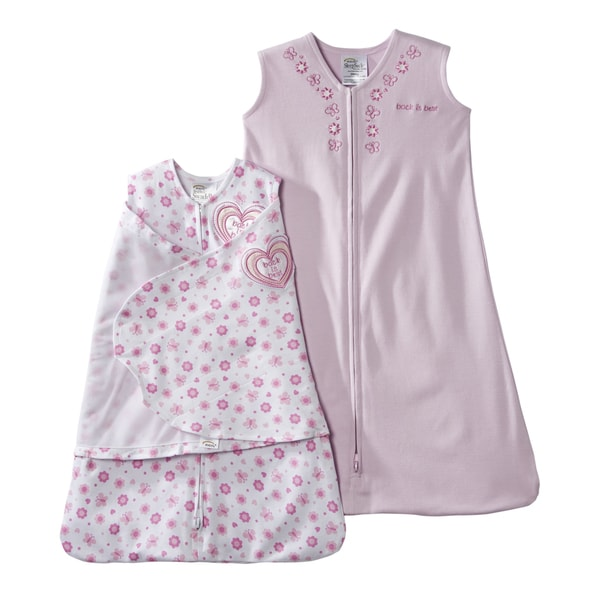 HALO SleepSack 2-piece Pink Hearts/ Flowers Swaddle Gift Set