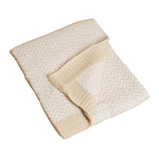 Saro Natural Herringbone Baby Blanket