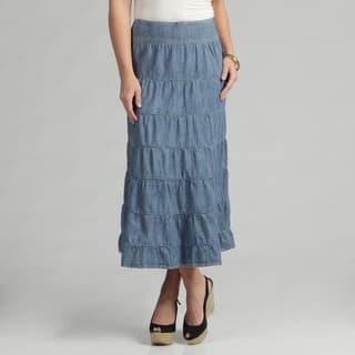 Live A Little Women's Light Denim Tiered Maxi Skirt https://ak1.ostkcdn.com/images/products/7479909/7479909/Live-A-Little-Womens-Light-Denim-Tiered-Maxi-Skirt-P14925983.jpeg?impolicy=medium