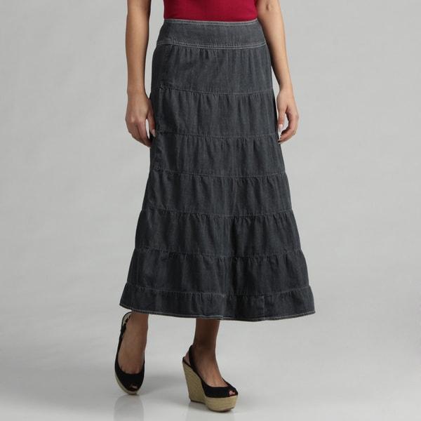 Live a Little Women's Salior Denim Tiered Skirt