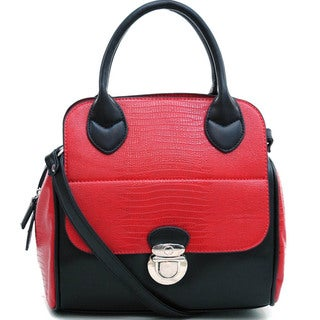 Dasein Soft Matte Croco Texture Satchel with Shoulder Strap