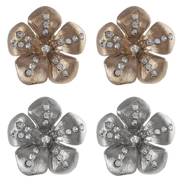 Journee Collection Steel CZ Vintage Flower Earrings