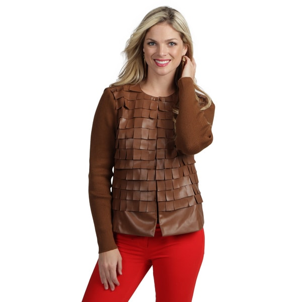Live A Little Women's Cognac Flirty Collarless Jacket