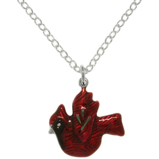 Carolina Glamour Collection Pewter Red Cardinal Bird Charm Necklace