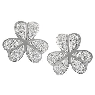 Journee Collection Sterling Silver CZ Clover Stud Earrings