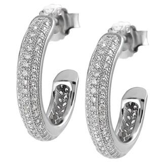 Journee Collection Sterling Silver Cubic Zirconia Hoop Earrings