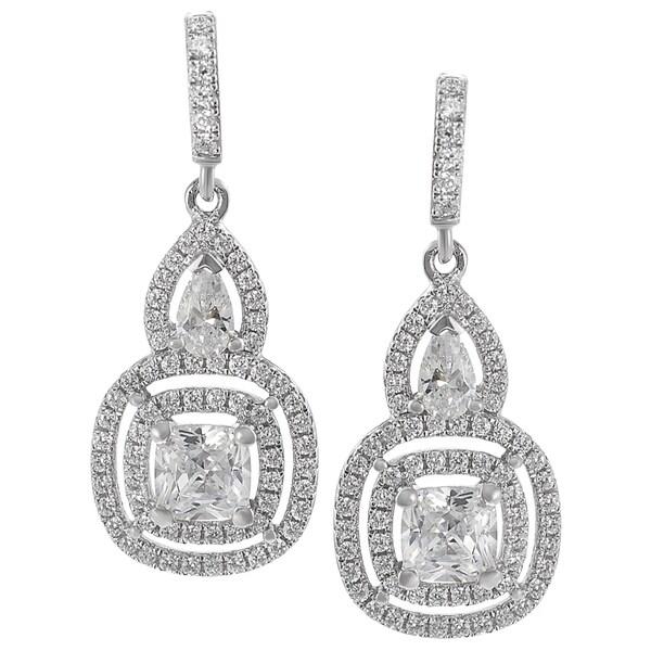 Journee Sterling Silver CZ Mini Chandelier Earrings