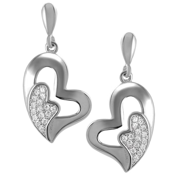 Journee Collection Sterling Silver Cubic Zirconia Tilted Heart Earrings