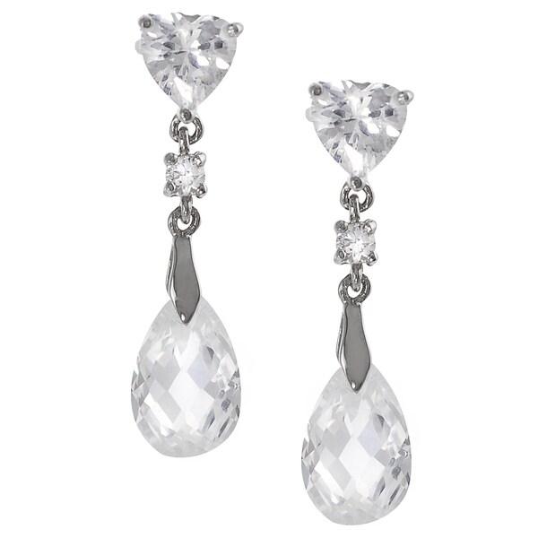 Journee Sterling Silver CZ Heart Drop Earrings