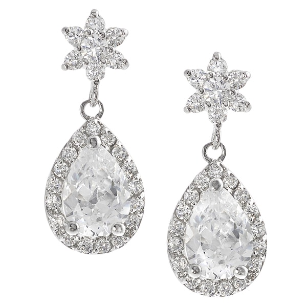 Journee Collection Sterling Silver Cubic Zirconia Mini Chandelier Drop Earrings