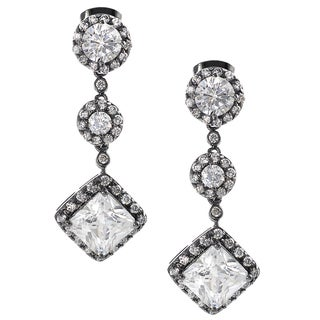 Journee Collection Rhodium-plated Silver Cubic Zirconia Mini Chandelier Earrings