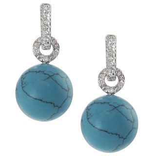 Journee Collection Sterling Silver Cubic Zirconia Acrylic Bead Earrings