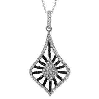 Journee Collection Sterling Silver Black and White Cubic Zirconia Necklace