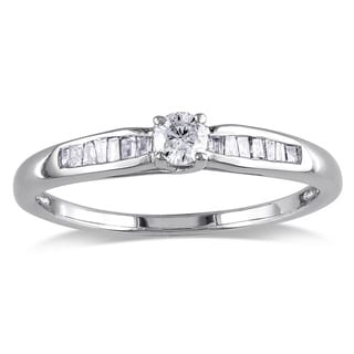 Miadora Sterling Silver 1/4ct TDW Round-cut Diamond Promise Ring