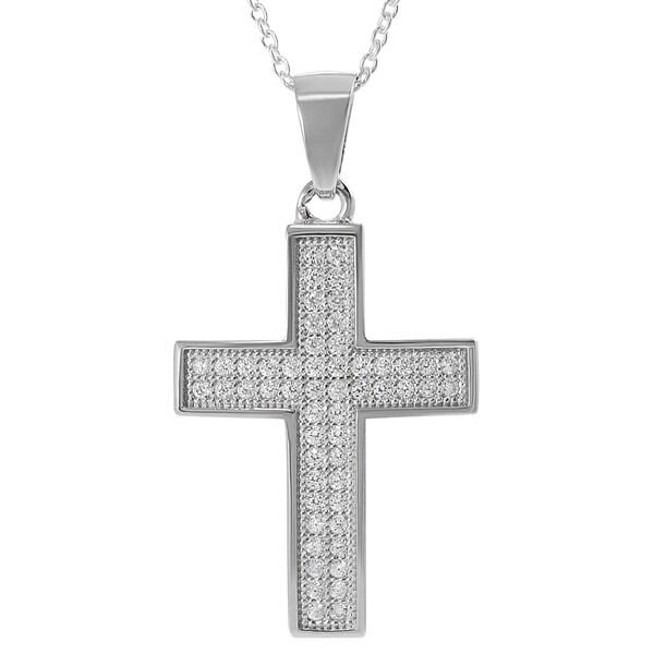 Journee Sterling Silver Cubic Zirconia Cross Necklace