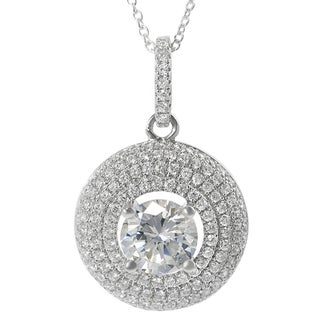 Journee Collection Sterling Silver Cubic Zirconia Circle Necklace