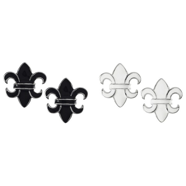 Journee Collection Sterling Silver Enamel Fleur-de-lis Earrings