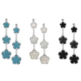 Journee Collection Sterling Silver Dangle Flower Earrings